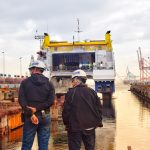 Mr Alfredo Juan on the right together with the Dock Master and a Ship Manager